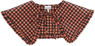 Ganni Gingham Check Exaggerated Ruffle Collar