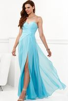Faviana Strapless High Slit Chiffon Long Evening Gown 6428e