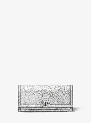 Monogramme Metallic Python-Embossed Leather Clutch