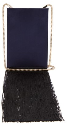 Galvan Fringed Satin Shoulder Bag - Navy