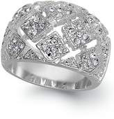 Charter Club Silver-Tone Crystal Mesh Wide Ring, Size 6