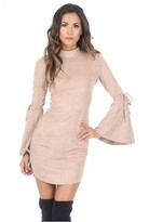AX Paris Stone Faux Suede Flare Sleeve Dress