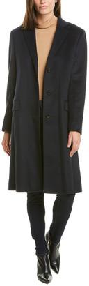 Agnona Leather-Trim Cashmere Coat