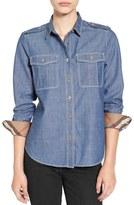 Burberry Women's Check Cuff Denim Shirt