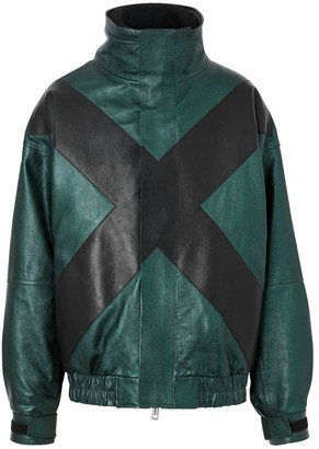 Burberry Metallic Leather Jacket With Detachable Warmer