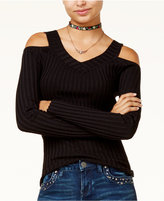 Hooked Up by IOT Juniors' Ribbed Cold-Shoulder Sweater