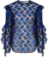 Sandro Paisley Print Lace Top, Beige, 3