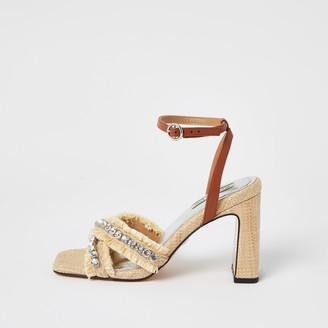 River Island Womens Beige raffia diamante cross strap heel sandal