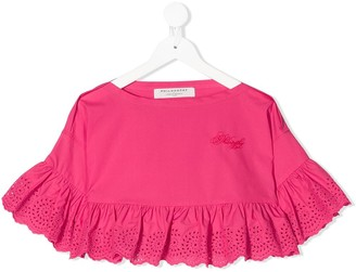 Philosophy Di Lorenzo Serafini Kids lace-trimmed cotton T-shirt