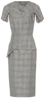 Roland Mouret Checked wool midi dress