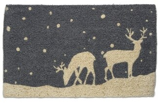 "TAG 1'6"" x 2'6"" Falling Snow Deer Reindeer Buck Lodge Cabin Christmas Doormat Xmas Holiday Christmas Coir Doormat Mat"