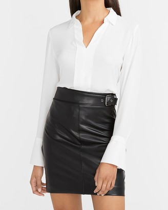 Express High Waisted Belted Vegan Leather Mini Skirt