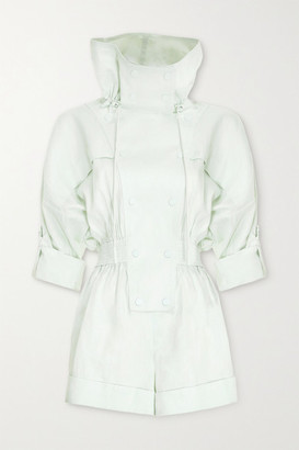 Zimmermann Glassy Hooded Linen Playsuit - Mint