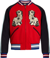 Gucci Spaniel and tiger appliqué wool bomber jacket