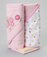SpaSilk Pink Polka Dot Butterfly Hooded Towel & Washcloth Set