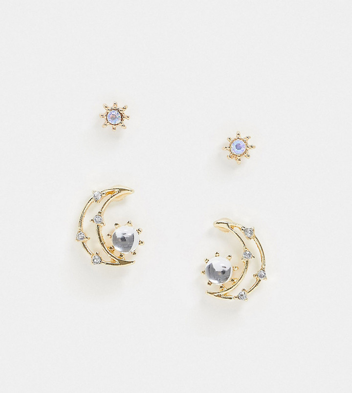 Reclaimed Vintage inspired star and moon earring pack