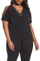 MICHAEL Michael Kors Plus Size Women's Cold Shoulder Crepe Top With Faux Leather Trim