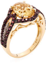 Rina Limor Fine Jewelry Women's Yellow Rhodium Plated Sterling Silver, Citrine, Rhodolite & 0.05 Total Ct. Diamond Band Ring