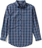 Roundtree & Yorke Silky Finish Long Sleeve Plaid Woven Sportshirt