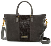 Liebeskind Berlin Esther Snake Embossed Leather Suede Satchel