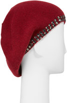 Portolano Cashmere Crystal-Edge Beret Hat, Ashton Red