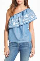 Rebecca Minkoff Rita One-Shoulder Chambray Top