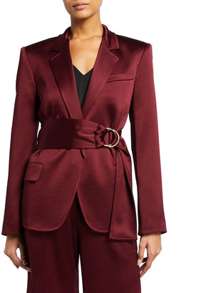ADEAM Satin Belted Tailored Jacket
