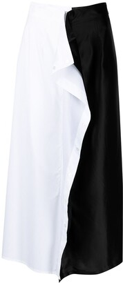 MM6 MAISON MARGIELA Two-Tone Ruffle-Detail Midi Skirt