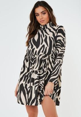 Missguided Stone Zebra Print High Neck Jersey Smock Dress
