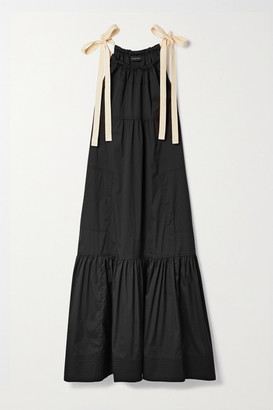 Lee Mathews Sara Canvas-trimmed Cotton-blend Poplin Maxi Dress - Black