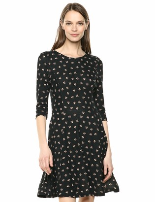 Lark & Ro 3/4 Sleeve Knit Fit and Flare Dress Tossed Deco Floral XL