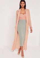 Missguided Carli Bybel Maxi Duster Coat Pink