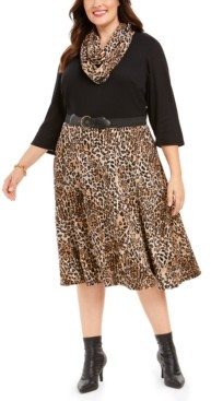 Robbie Bee Plus Size Belted Solid & Animal-Print Sweater Dress & Scarf