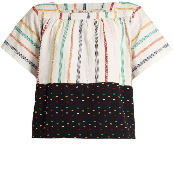 Ace&Jig Vista square-neck embroidered-stripe cotton top
