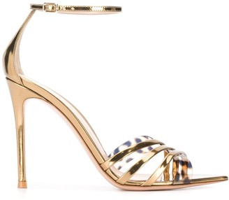 Gianvito Rossi Pointed Leopard-Strap Sandals