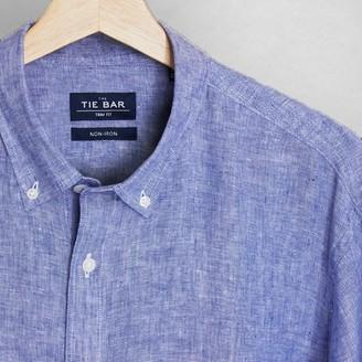 Tie Bar Linen Light Blue Non-Iron Casual Shirt