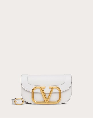 Valentino Supervee Calfskin Crossbody Bag Women Optic White Calfskin 100% OneSize