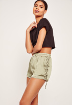 Missguided Lace Up Side Satin Shorts Khaki