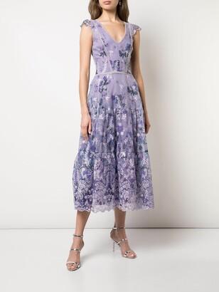 Marchesa Notte floral A-line dress