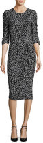 Rebecca Taylor Floral Fizz Ruched Midi Dress, Black