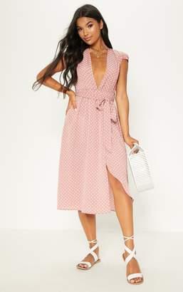 PrettyLittleThing Pink Polka Dot Cap Sleeve Midi Skater Dress