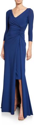 Chiara Boni Piene V-Neck 3/4-Sleeve Gathered Overlay Gown