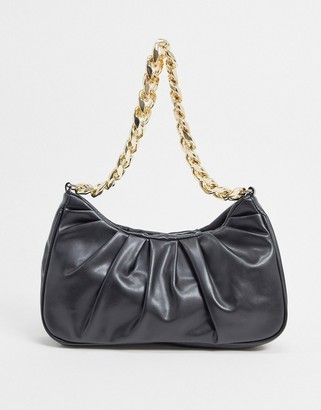 ASOS DESIGN ruched shoulder bag in black with chunky gold chain