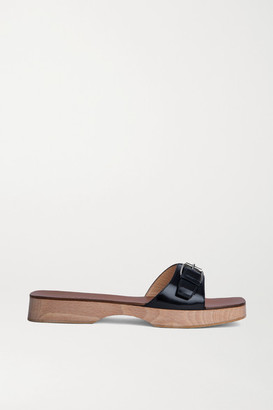 BY FAR Buckled Leather Slides - Black