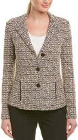 St. John Leather-Trim Wool-Blend Blazer