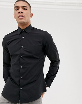 French Connection plain poplin slim fit shirt-Black