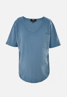 Missguided Blue Textured Maternity Pocket T Shirt