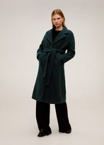 MANGO Belted wool coat green - S - Women
