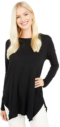 bobi Los Angeles Slubbed Jersey Rib Mix Handkerchief Tee (Black) Women's Clothing
