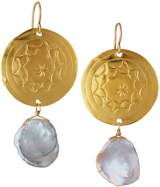 Devon Leigh Coin Pearl-Dangle Earrings